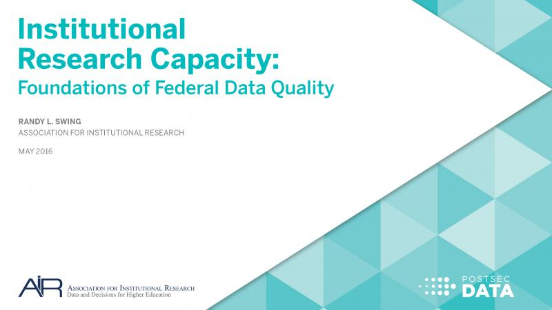 Institutional Research Capacity: Foundations of Federal Data Quality