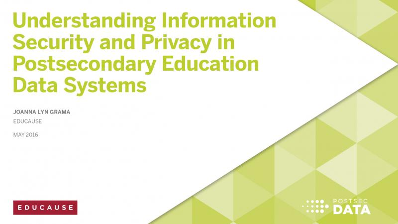 Understanding Information Security and Privacy in Postsecondary Education Data Systems